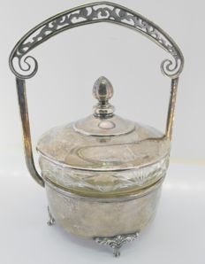 Sugar bowl in Spanish silver and glass - 20th century