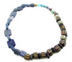 Viking Necklace with Coloured Glass Beads - 430 mm