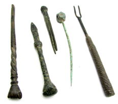 Selection of 5 Ancient Roman - medieval Bronze & Iron Medical / Cosmetic Tools  (5)