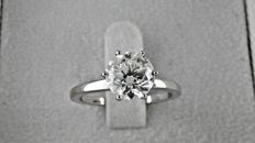 IGL 1.91 ct round diamond ring made of 14 kt white gold - size 6.5