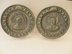 "Hammered pewter plates from 1757 with initials ""A.K.J."" -Netherlands - 18th century"