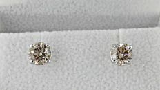 1.80 ct round diamond stud earrings 14 kt white gold *** No reserve price ***