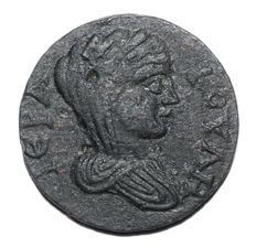 Greek Antiquity - CARIA, Antioch ad Maeandrum. Æ26 (26mm; 9.52g.) ca 238-268 AD. / Boule - tetrastyle temple with Tyche