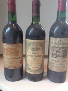 1979 Château Grand Monteil x 1 bottle - 1981 Château Citran x 1 bottle - 1982 Château Carteau Pindefleur x 1 bottle / 3 bottles in total