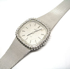Omega Deville watch for women, in white gold with diamonds.