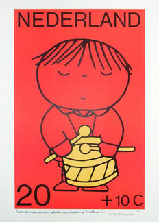 Dick Bruna - Little drummer, silkscreen print - ca 1980