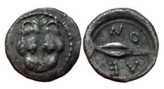 Greek Antiquity - Italy, Sicily, Leontini - AR Litra, c. 476-466 BC - Head lion / Barley-grain - SNG ANS 214