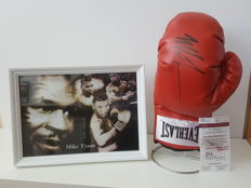 Mike Tyson - hand-autographed Everlast boxing glove on a stainless steel stand + Large white glossy framed photo + JSA COA