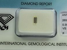 Baguette cut diamond, 0.35 ct K VS 2 with IGI certificate
