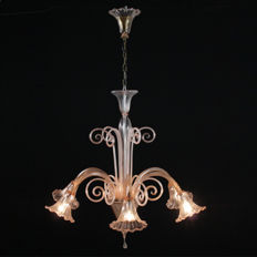 Pastoral pink glass chandelier - Italy, mid 20th century