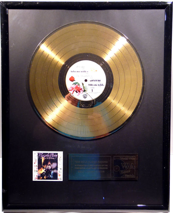 "Prince - Purple Rain -  12"" german WB record gold plated record by WWA Awards"