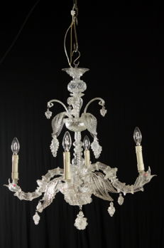 Clear crystal glass 4-arm chandelier with leaves and pendants shaped like a bunch of grapes - Italy, late 19th century