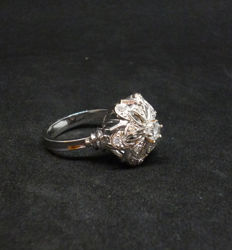 18 kt gold Ring with diamonds 0,15 ct  - Size: 54 or 14