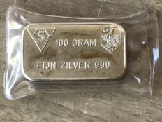 Old 100 grams silver bar Schöne BV Amsterdam in seal.