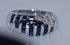 1.65 Sapphires and Diamonds band ring - No reserve price!