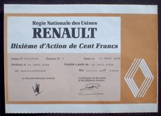 Renault Stock Certificate 100 Francs 1981