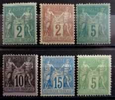 France 1876-1898 – Sage Types– Yvert 74, 75, 85, 90, 103 and 106.