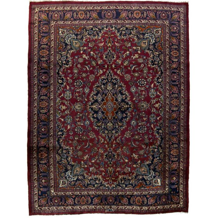 Antique genuine MASHAD Persian rug (HAND-KNOTTED) Signed by the famous master, ZARRIN KAR (PERSIA/IRAN) (Dimensions: 335 x 250 cm) (Era: 1940-1950) With Certificate of Authenticity from an official appraiser (Galleriafarah1970) 92690
