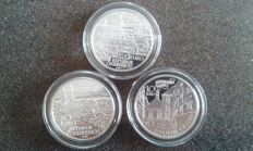 "Austria – 3x 10 Euro ""monasteries, fortresses and castles"" – silver"