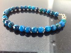 Bracelet with faceted chrysocolla beads, 10 g, length: 20.5 cm, 18 kt yellow gold clasp