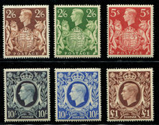 Great Britain King George VI 1939/48 – high values, Stanley Gibbons 476/478c