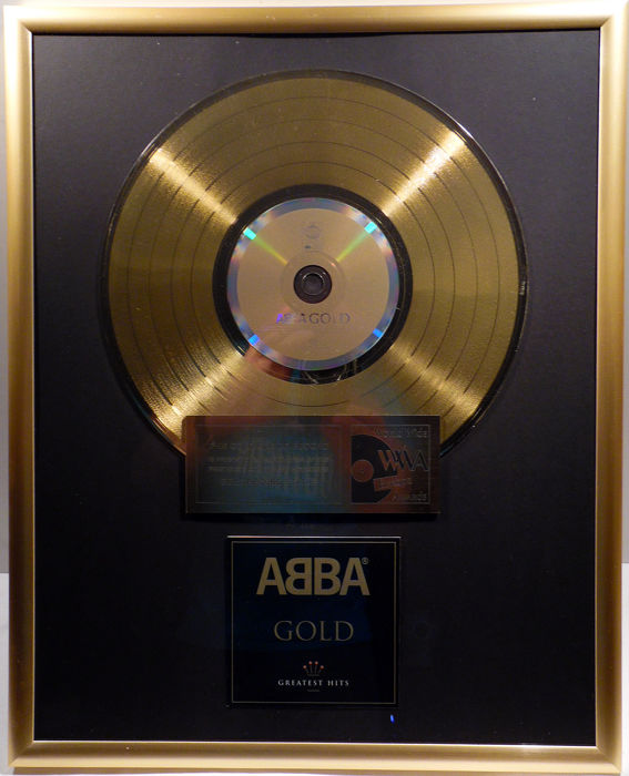 "ABBA - GOLD - 12"" german Polar gold plated record with CD and cover by WWA gold Awards"