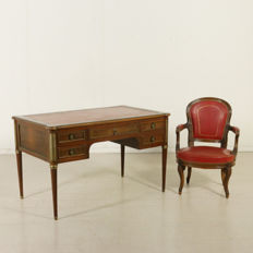 Napoleon III-style writing desk with tapered legs, provided with brass rings and tips, and an armchair - Italy, early 20th century