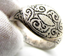 Viking Silver Ring with Runic Symbol - 17mm