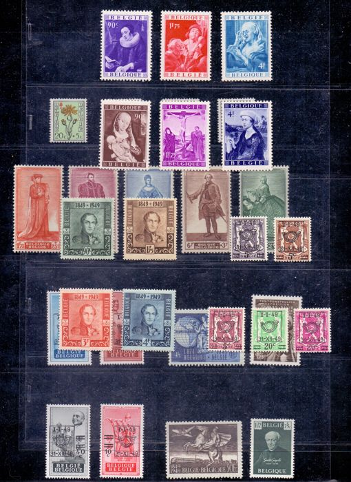 Belgium 1949 – Complete year without blocks – OBP 792 through 822.