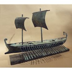 Bronze boat on a marble base, 20th century