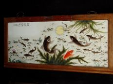Porcelain picture - excellent painting with a large school of koi and juvenile fish - China - late 20th century