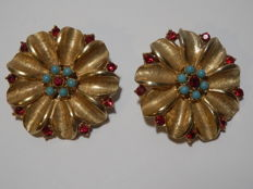 @ ART - Earrings in gilt metal with red crystals and turquoise beads
