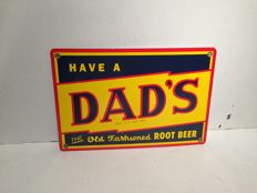 Dad's Rootbeer enamel logo sign - USA 1980-1990