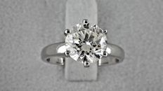 IGL 2.32 ct  round diamond ring made of 14 kt white gold - size 5.5