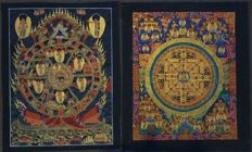 2 Handpainted Thangka painting, Wheel of life and Buddha Mandala- Tibet/Nepal - 21st century
