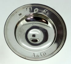 A Mappin & Webb solid silver butter plate with initials A & Co - London - 1966