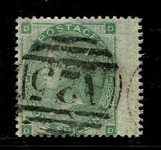 Great Britain 1862/64 – Queen Victoria – 1 shilling green Stanley Gibbons 90 Used Abroad A25 Malta