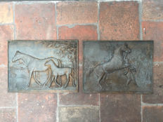 Two bronze reliefs with horses after Georges Gardet, 20th century