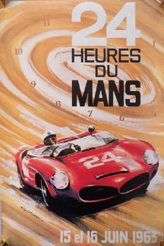 Original official poster of the 24 hours of Le Mans 1963