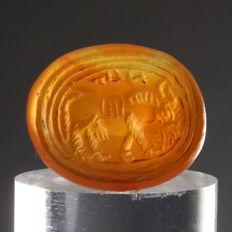 Sassanid carnelian intaglio with bull and inscription - 21,1 x 17,6 mm