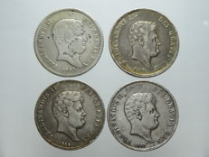 Kingdom of the Two Sicilies - 60 grana 1838, 1855, 1856 and 1857 Ferdinand II (4 coins) - silver