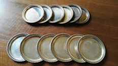 Six coasters + Six antique saucers in silver 800/1000 - vintage silver tray dish - Italy, circa 1940