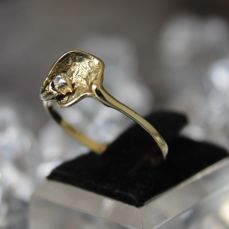 Solitaire Design Ring with Diamond in brillant cut of c. 0.03 Ct, 14 K Gold RS 60 / 20mm ∅ /US 10,5