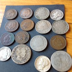 United States - Lot of 16 coins 1864/1949 (including silver)