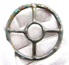 "Ancient Roman bronze open work pendant shaped as wheel - ""the Wheel of Fortune"" - - 57 mm"