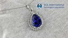 EGL 10.34 ct natural tanzanite and diamond necklace in 14 k white gold