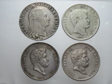 Kingdom of the Two Sicilies - Piastre, 120 Grana, 1798, 1832, 1846 and 1857 - Ferdinand I and II (4 coins) - Silver