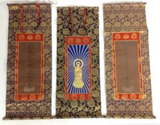 Set, Scroll painting of Buddha, hand-painted on paper - Japan - early 20th century