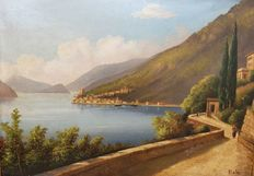 Unknown artist (signed Rota, 20th century) - Lago D'Iseo, scorcio / Iseo lake, view