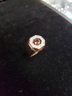 14kt Rose Gold Ring with 0,93ct Chocolate Diamond and 0,56 white diamonds  - size U